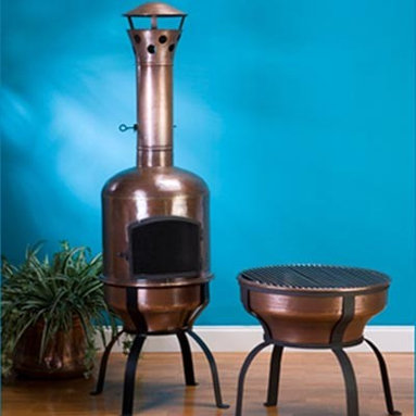 Fire Pits - Great for Fall and Winter - We call them chimineas, but they are so much more!  Remove the top and barbeque on the stainless steel grill, remove the grill and it becomes a fire pit.  Crafted from solid copper with a wrought iron base, these chimineas will last for years to come.  Made from seven separate pieces that fit tightly together, the chimineas can either stay outdoors year round, or can be easily disassembled and stored when not in use.  For safety, the chimineas come with a removable front screen door, an adjustable flue and a screened chimney.  For outdoor use only.