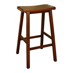 American Heritage - American Heritage Wood Saddle Stool in Walnut - 30 Inch - The wood saddle counter height or bar stool is a perfect choice for any room in the house. The heavy duty construction and scooped seat will provide many years of comfortable service.