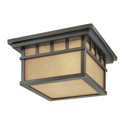 Dolan Designs - Dolan Designs 9119 Two Light Outdoor Ceiling Fixture from the Barton Collection - Craftsman / Mission Two Light Outdoor Flush Mount Ceiling Fixture from the Barton CollectionThe Barton collection outdoor ceiling light provides a cozy, rustic feel to your patio or other outdoor space. Arizona glass panels softly diffuse the light given the total fixture a quaint feeling.Features: