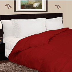 None - Lightweight 230 Thread Count Red Microfiber Down Comforter - The bold color of this red microfiber down comforter will make a fashionable statement in any bedroom while providing luxurious comfort all year long. Match it with deep wooden furniture and crisp white pillows for a truly modern look.