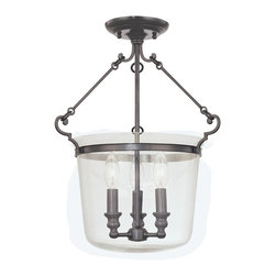 Hudson Valley Lighting - Hudson Valley Lighting 130-OB Quinton 3 Light Semi-Flush Mount, Old Bronze - This 3 light Semi Flush from the Quinton collection by Hudson Valley Lighting will enhance your home with a perfect mix of form and function. The features include a Old Bronze finish applied by experts. This item qualifies for free shipping!