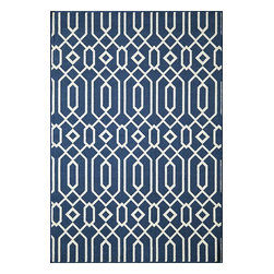 Momeni - Momeni Baja Baj3 Navy Rug - Baja0Baj - Bold and exciting colors patterns allow trend-conscious customers to create their ultimate indoor/outdoor oasis.  Baja thrives on simple graphic patterns with a refreshing twist of runway fashion and lively color palettes.  Machine-made in Egypt of 100% polypropylene and approved for use outdoors.