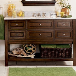 Classic Single Wide Sink Console, Espresso Finish - This sink console has lots of storage! I love the basket underneath with extra towels, too.