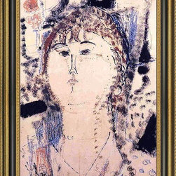 """Art MegaMart - Amedeo Modigliani Rosa Porprina - 18"""" x 27"""" Framed Premium Canvas Print - 18"""" x 27"""" Amedeo Modigliani Rosa Porprina framed premium canvas print reproduced to meet museum quality standards. Our Museum quality canvas prints are produced using high-precision print technology for a more accurate reproduction printed on high quality canvas with fade-resistant, archival inks. Our progressive business model allows us to offer works of art to you at the best wholesale pricing, significantly less than art gallery prices, affordable to all. This artwork is hand stretched onto wooden stretcher bars, then mounted into our 3 3/4"""" wide gold finish frame with black panel by one of our expert framers. Our framed canvas print comes with hardware, ready to hang on your wall.  We present a comprehensive collection of exceptional canvas art reproductions by Amedeo Modigliani."""