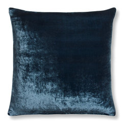 """The Linen Works - China Blue Velvet Pillow Cover -  two sizes, 16"""" X 12"""" - Absolutely luxurious, this sumptuous Silk Velvet Cushion Cover actually shimmers.    China Blue velvet front with our Dove Grey linen backing.  Also available in Slate Green and Taupe."""