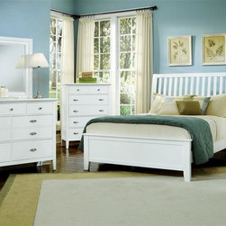 Vaughan Bassett - 5-Piece Slat Panel Bedroom Set in Snow White - Choose Bed Size: FullIncludes slat panel bed, chest, nightstand, triple dresser and landscape mirror. Snow White finish. Assembly required. Chest:. 5 Drawers. 38 in. W x 18 in. D x 51 in. H. Nightstand:. 2 Drawers. 26 in. W x 16 in. D x 29 in. H. Triple dresser:. 7 Drawers. 56 in. W x 18 in. D x 41 in. H. Landscape mirror:. Beveled glass. 35 in. L x 3 in. W x 39 in. H. Slat panel bed:. Full Size:. Includes slat headboard, platform footboard, wood rails and 3 1-inch slats. Slat headboard: 56 in. L x 4 in. W x 52 in. H. Platform footboard: 57 in. L x 2.5 in. W x 21 in. H. Wood rails: 76 in. L x 6 in. W x 1 in. H. Queen Size:. Includes slat headboard, platform footboard, wood rails and slats. Slat headboard: 63 in. L x 6 in. W x 58 in. H. Platform footboard: 64 in. L x 2.5 in. W x 21 in. H. Wood rails: 82 in. L x 6 in. W x 1 in. H. King Size:. Includes slat headboard, platform footboard, wood rails and metal support slats. Slat headboard: 80 in. L x 6 in. W x 58 in. H. Platform footboard: 81 in. L x 2.5 in. W x 21 in. H. Wood rails: 82 in. L x 6 in. W x 1 in. H. Under bed storage box: 52 in. L x 19 in. W x 7.5 in. H (optional)