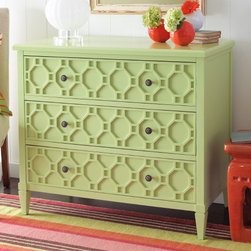 St. Lucia Accent Chest - Add texture, color, and geometric interest to your bedroom with this eclectic dresser.