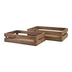 "Imax - Joelle Wood Crates - Set of 2 - *Dimensions: 4.25-5""h x 18.5-20.75""w x 10.25-12.5"""