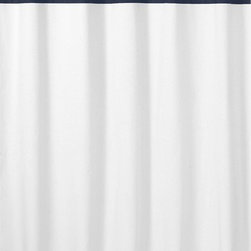 Sweet Jojo Designs - Hotel White & Navy Shower Curtain by Sweet Jojo Designs - The Hotel White & Navy Shower Curtain by Sweet Jojo Designs, along with the  bedding accessories.
