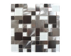 Eden Mosaic Tile - Modern Cobble Stainless Steel with White Glass Tile, Sample - Inspired by the antique cobblestone streets of Europe this metal mosaic stainless steel tile features three different sizes of tile including a large square small square and medium brick but also features white glass tile. The metal part of this type has different finish colors (silver and pewter) and brush patterns (snow matte and circular brushed). This tile is ideal for stainless steel kitchen backsplashes, accent walls, bathroom walls, and bathroom back splashes. The tiles in this sheet are mounted on a nylon mesh which allows for an easy installation. Imported.