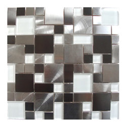 Eden Mosaic Tile - Modern Cobble Stainless Steel with White Glass Tile, Sample - Inspired by the antique cobblestone streets of Europe, this metal mosaic stainless steel tile features different sizes of tile. The metal part has different finish colors (silver and black) and brush patterns (snow matte and circular brushed). This tile is ideal for stainless steel kitchen back splashes, accent walls, bathroom walls, and bathroom back splashes. The tiles in this sheet are mounted on a nylon mesh which allows for an easy installation. Imported.