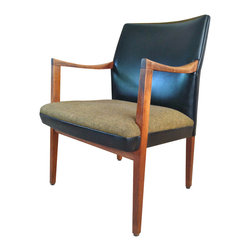n/a - Consigned Danish Modern Arm Chair - A handsome 60's executive chair in walnut and black leather. The seat is upholstered in gold-ochre toned wool upholstery, in great shape. The chair features characteristic Mid-Century form. It is very sturdy and in very good condition, despite a half inch blemish on the back right top corner, shown in photos.