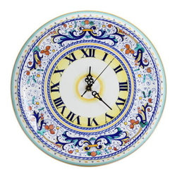 Artistica - Hand Made in Italy - RICCO DERUTA: Round Wall Clock - RICCO DERUTA: This product is part of the renown Ricco Deruta Collection.
