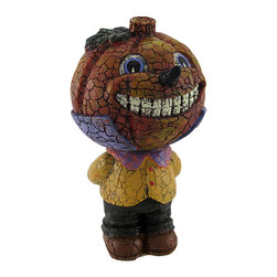 n/a - Boy Pumpkin Bobble Head Figurine Halloween Decor - This sweet, smiling pumpkin bobble head figurine adds a wonderful accent to your Halloween or autumn decor. He stands 7 1/2 inches tall and is 4 inches wide and 4 1/2 inches deep. This piece is crafted from cold cast resin and has an allover crackle finish, giving it a folk art feel. It looks great displayed on tables, shelves, or desks, and it is sure to be admired year after year.