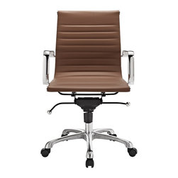 Hampton Modern - Modern Ribbed Mid Back Office Chair, Terra Cotta Leatherette - This classically designed mid back desk chair offers a sleek look for any office setting. The ribbed leatherette seat provides just the right amount of give to sit comfortably for hours. Don't be fooled by the minimalist design though, this chair also sports a locking tilt function, adjustable height lever, and tilt tension knob. Chair is set on rolling casters. Metal arms are removable.