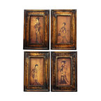 Oriental Unlimted - 4 Pc Set Celestial Music Paintings - Depicts 4 separate geisha in brightly colored kimonos each holding a unique musical instrument. Features an indigenous Fujian lacquering style. Built with mahogany and Elm wood. Antique-finished for a gorgeous authentic look. Resulting surface has a matte finish. 12 in. W x 1 in. D x 18 in. H (per painting)