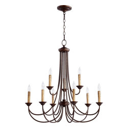 Joshua Marshal - Nine Light Oiled Bronze Up Chandelier - Nine Light Oiled Bronze Up Chandelier