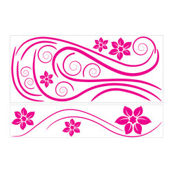 RoomMates - Deco Swirl Peel & Stick Wall Decals - Bright, girly, and so, so stylish! This trendy hot pink swirl wall graphic is a great addition to any teen's room... or any other place where you want to make your walls pop. Comes in separate elements so you can create your very own custom look that works with any space. Let your imagination run wild.