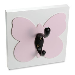 Homeworks Etc - Homeworks Etc Butterfly Single Wall Hook, light pink - Decorative butterfly themed wall hook for the nursery and kids room.  Great for hanging towels, clothes, and more.