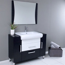 Fresca - Fresca Vita Modern Bathroom Vanity with Wenge Wood Finish - Post Modern detailed European design meets Tribeca loft, clean and simple lines. Almost 1950's industrial in look, but also fully functional 21st century design. This mostly dark wenge wood vanity utilizes cleverly constructed and executed storage spaces that contrast wonderfully with a white sink and white middle drawer. Mirror with matching dark wenge wood accents. Many faucet styles to choose from. Optional side cabinets are available. Features Materials: Wenge Wood, Ceramic Sink with Overflow Single Hole Faucet Mount (Faucet Shown In Picture May No Longer Be Available So Please Check Compatible Faucet List) P-trap, Faucet/Pop-Up Drain and Installation Hardware Included How to handle your counterInstallation GuideView Spec Sheet