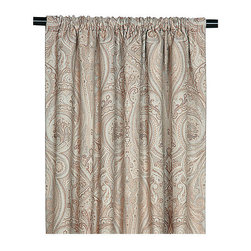 "Frontgate - Galbraith Curtain Panel - 108"" x 48"" - From Eastern Accents. 108"" x 48"". Because this product is specially made to order, please allow 4-6 weeks for delivery. Dry clean only recommended. The Galbraith Bedding Collection is an elegant, monochromatic ensemble. A pleated velvet fabric gives the collection metallic sheen and texture. Beaded trimming and tassels enhance the collection's urban appeal. . . .  . Made in Italy. Coordinates with the Galbraith Bedding Collection."