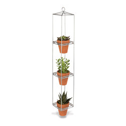 Lone Elm Studios - Galvanized Metal Three-Tier Hanging Planter - With stylish iron construction and a ready-to-hang design, this three-tier hanging planter will instantly add a convenient space to grow your smallest plants.   Plants not included 27.5'' H Holds 3'' pots Iron Ready to hang Imported