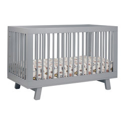 Hudson 3-in-1 Convertible Crib w/ Toddler Rail, Gray
