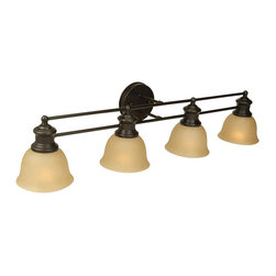 Craftmade - Lite-Rail Series, 4 Light in Oiled Bronze - Bulb Type: A-Type. Max Watt: 4x100W. Glass Finish: Tea-Stained. Length: 34.5 in.. Extension: 8.0 in.