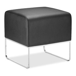 ZUO - ZUO Plush Compact Ottoman in Leatherette-Black - ZUO - Ottomans - 103003 - This versatile ottoman is contemporary and compact and is upholstered in leatherette that will stand up to high traffic. Understated chromed steel tube legs complete the Plush ottoman.