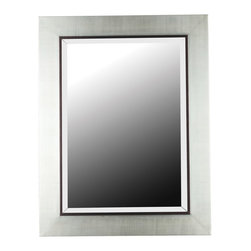 Kenroy - Kenroy Dolores Contemporary Mirror X-93006 - The thick rectangular frame of this Kenroy mirror gives it a clean and contemporary look, especially when paired with the charming Silver finish. Black accent trim works to highlight the rectangular shape of this contemporary mirror, while still remaining versatile with any room's color scheme.