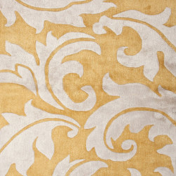Jaipur Rugs - Transitional Abstract Pattern Gold /Yellow Wool/Silk Tufted Rug - BL08, 9.6x13.6 - Turn over a new decorative leaf with this hand-tufted wool and silk rug. The beautiful design is augmented by the raised pattern, which will feel delightful on your bare feet. Available in several sizes, you're sure to find one that's an ideal fit for your home.