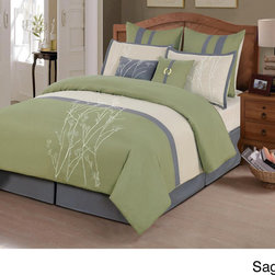None - 'Taylor' 8-piece Embroidered Comforter Set - Enhance your bedroom decor with the elegant Taylor 8-piece comforter set. Featuring an embroidered fabric detail and a stripe pattern, this lovely comforter set is available in rust, sage and plum.