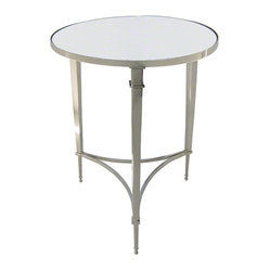 Global Views Round French Square Leg Table Nickel & Mirror
