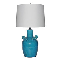 """Lamps Plus - Contemporary Crestview Collection Turk Tuskin Ceramic Table Lamp - This bold blue ceramic table lamp will brighten up your home with transitional modern style. The smooth jug body is topped with a crisp white shade that enhances the lamp's energetic feel. Revitalize your decor with this wonderful piece from Crestview Collection lighting. Stylized ceramic jug table lamp. Turk blue finish. Ceramic construction. White silk shade. Whimsical curled accents. Takes one 150 watt 3-way bulb (not included). Shade is 12"""" across the top 14"""" across the bottom and 10"""" high. 25 1/2"""" high.    Stylized ceramic jug table lamp.  Turk blue finish.  Ceramic construction.  White silk shade.  Whimsical curled accents.  Takes one 150 watt 3-way bulb (not included).  Shade is 12"""" across the top 14"""" across the bottom and 10"""" high.  25 1/2"""" high."""