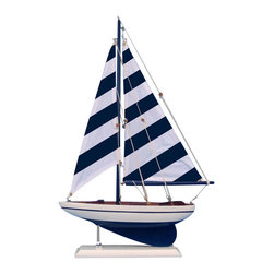 Handcrafted Nautical Decor - Blue Striped Pacific Sailer 17'' - NOT A MODEL SHIP KIT   --Attach Sails and this Sailboat Centerpiece is Ready for Immediate Display ---- --Brighten  your day, or any room of your home, with   this delightfully fun  Pacific Sailboat model. Perfect nautical Decor gifts for friends,    children, or party guests, they also make excellent nautical decorations  or sailboat centerpieces for a reception or group event. Liven your  office, beach   house, or sunroom with one of these colorful sailboat  models today! --------    Handcrafted solid wood hull, masts and stand with metal supports--    Timeless nautical colors - Navy blue and white--    Largest sailboat selection available - We offer over 150 unique model sailboats --    Featured in Sept 2011 Brides magazine - Excellent wedding table centerpiece--    --    Perfect nautical gift for friends, children or party guests--    --    Ideal for banquets, receptions, meetings, or any other nautical party or event ---- Contact us for quantity discounts---- --This model sailboat requires minor assembly. Simply insert mast into hull and clip on the sails. --There is no rigging to tie or tighten. Assembly takes less than 2 minutes.