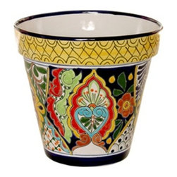 "Mexican Talavera - Mexican Talavera Flower Pot - 10"" Diameter - Large - Design B - Mexican Talavera Flower Pot - 10"" Diameter e Large"