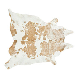 #N/A - Cowhide Rug, Beige and White - Cow Hide Rug in Beige and White Special Medium. Hair on Hide Rug Natural Form