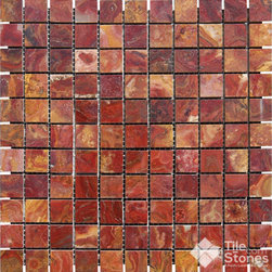 Red Onyx 1x1 Mosaic Polished - Call to order: 1-877-558-8484