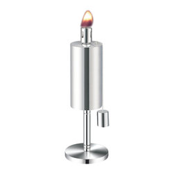 Anywhere Fireplaces - Anywhere Fireplace Cylinder Garden Torch, Table Top - Add some style and uniqueness to your BBQs and outdoor seating areas while repelling those annoying and biting mosquitoes and insects with the Anywhere Table Top Garden Torch. These modern design torches come in 2 styles, cylinder and cone shape, and have matching 65 tall stake versions as well. One or more can be placed on any flat surface to radiate glorious light and repel insects to insure your outdoor time is most enjoyable. Both models have clean sophisticated lines in a stainless steel finish that will enhance any outdoor atmosphere whether it s a barbecue, outdoor games, or any evening gathering around the patio, deck, yard or pool. The Anywhere Garden Torches use citronella or lamp fuel and comes with a snuffer cap for safe and easy extinguishing. A funnel is recommended for use when filling the fuel. Wipe any spills or drips off stainless steel before lighting. Never try to refill torch while burning or top is still hot.