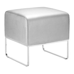 ZUO MODERN - Plush Ottoman Silver - This versatile ottoman is contemporary and compact, upholstered in leatherette that stands up to high traffic. Understated chromed steel tube legs complete the Plush ottoman.