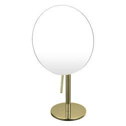 Nameek's - Single Face 3x Magnification Mirror, Gold - This 8 inch round table mirror features a single face, 3x magnification mirror.