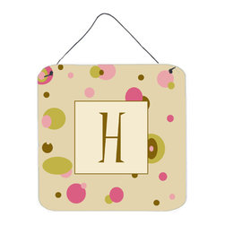 Caroline's Treasures - Letter H Initial Monogram - Tan Dots Aluminium Metal Wall Or Door Print - Great for inside or outside these Aluminum prints will add a special touch to your kitchen, bath, front door, outdoor patio or any special place.  6 inches by 6 inches and full of color.  This item will take direct sun for a while before it starts to fade.  Rust and Fade resistant.  Aluminum Print with Hanging Rope.  Rounded Corners.
