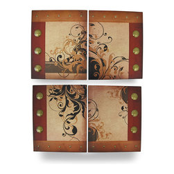 Zeckos - Paisley Vines Artistic Montage Set of 4 Canvas Wall Hangings - This set of 4 canvas wall hangings are an artistic montage in rich earth tones of reds and browns to decorate the walls in your home or office, and are a wonderful accent in a shop or restaurant. With paisley floral leafy vine silhouettes and brass colored stud accents, each piece is 13 inches (33 cm) high, 10.5 inches (27 cm) wide, .75 inches (2 cm) deep to group together as a focal point, or hung separately to accent your existing decor. They easily hang with just two nails or screws by the attached hangers on the back. Printed canvas has been stretched over a wood frame to create this wonderful set of wall art, and this set makes a wonderful gift for an art loving friend