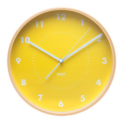 "WOLF - 12"" Wall Clock, Yellow - Simplicity and minimalism characterize this medium-size wooden wall clock. This stark, contemporary design features a 12"" white dial contrasted with black hands and sans-serif numberingperfect for viewing from across the room."