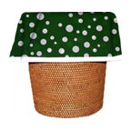 """Designerliners - Green Polka Dot Waste Basket Bags  Decorative - Reusable - Biodegradable - 12 PK - Designerliners decorative waste basket bags enhance any room in your home that has a waste basket. Designerliners come packed """"inside out"""" such that when placed inside a waste basket, the design shows on the inside of the container and then flows over the outer lip to form a beautiful outer border. Designerliners are made in the USA from strong 1 mil thick biodegradable plastic. Green Polka Dot Designerliners measure 17.75 x 19 inches. Available in 12-packs and economy 100-packs."""