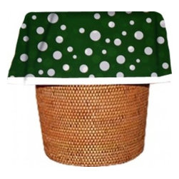 "Designerliners - Green Polka Dot Waste Basket Bags  Decorative - Reusable - Biodegradable - 12 PK - Designerliners decorative waste basket bags enhance any room in your home that has a waste basket. Designerliners come packed ""inside out"" such that when placed inside a waste basket, the design shows on the inside of the container and then flows over the outer lip to form a beautiful outer border. Designerliners are made in the USA from strong 1 mil thick biodegradable plastic. Green Polka Dot Designerliners measure 17.75 x 19 inches. Available in 12-packs and economy 100-packs."
