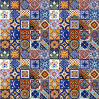 "Casa Daya Tile - 100 Hand Painted  Talavera Mexican Tiles - 100 2"" x 2"" tiles for your craft or construction project."