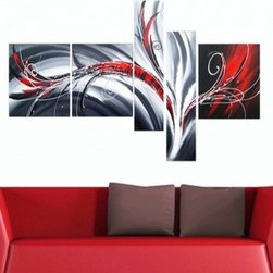 Abstract Flow Hand-painted 5-piece Oil Painting -