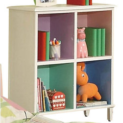 """Coaster - 4 Drawer Chest W/ Shelf (Sandy Yellow/Pink) By Coaster - Combine function with a little splash of color, and you got yourself the perfect little bookcase for your girl's little room. This bookshelf is ideal for those rooms that are space efficient and hold numerous purposes. Keep books, games and dolls organized and tidy with the four compartmental bookshelves. Each shelf features its own color, ranging from green to purple to pink to blue! Tapered thin legs and a clean square silhouette give this bookshelf the ideal, timeless shape for any child's bedroom. Features: White Finish Casual style Tapered thin legs, clean and crisp lines and edges 4 Compartment Shelves Specifications: Overall product dimensions: 24""""W x 42.25""""H x 18""""D"""