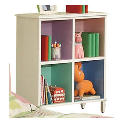 "Coaster - 4 Drawer Chest W/ Shelf (Sandy Yellow/Pink) By Coaster - Combine function with a little splash of color, and you got yourself the perfect little bookcase for your girl's little room. This bookshelf is ideal for those rooms that are space efficient and hold numerous purposes. Keep books, games and dolls organized and tidy with the four compartmental bookshelves. Each shelf features its own color, ranging from green to purple to pink to blue! Tapered thin legs and a clean square silhouette give this bookshelf the ideal, timeless shape for any child's bedroom. Features: White Finish Casual style Tapered thin legs, clean and crisp lines and edges 4 Compartment Shelves Specifications: Overall product dimensions: 24""W x 42.25""H x 18""D"